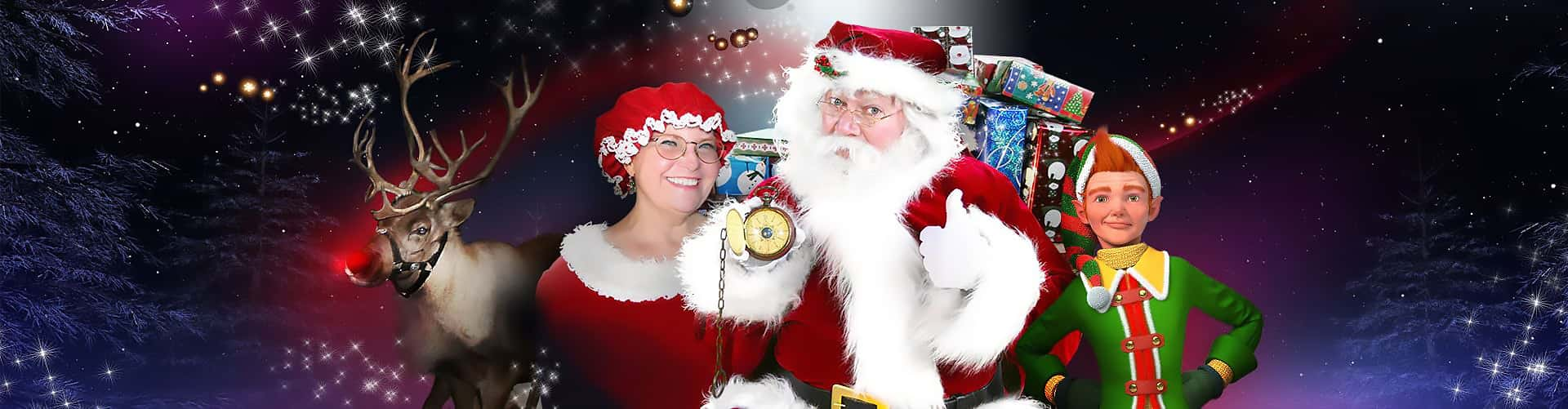 photo of Santa Claus, Mrs. Claus and reindeer