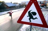 Elf crossing sign in Drøbak, Norway