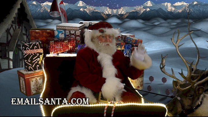 Santa Claus in sleigh with reindeer and presents!